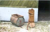 These two types of old butter churns are some of the many implements and objects that can be seen at the private farm museum at Styvi.