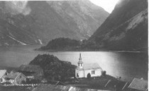 Bakka with the church as it looked like before 1955.