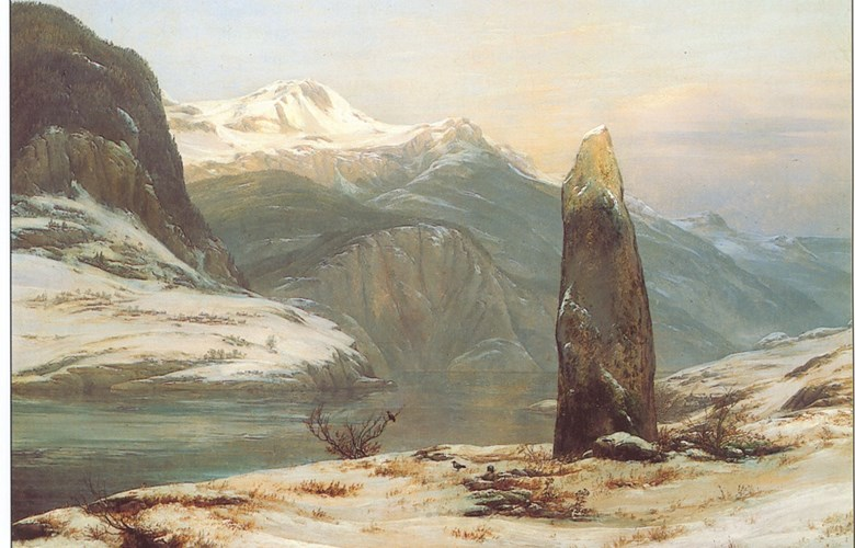 "I. C. Dahl: ""Winter by the Sognefjord"", 1827. The motif shows Slinde with Fimreite further away, and the mountain of Ramnaberg on the south side of the Sognefjord."