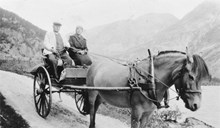 The horse was a common sight on the roads up until some years after the end of the Second World War. The picture shows the old post driver, Knut Yttri, with his granddaughter Maria Bakken in the cart. Knut Yttri delivered post between Marifjøra and Jostedal before a proper road for cars was built. He blew the postal horn when he arrived at a farm.