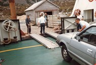 The Botnane quay did not have a proper boarding facility for cars, and cars therefore had to drive onboard on two broad boards. This was probably one of the last ferry services where such a boarding system was used.