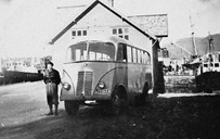 A bus service between Askvoll and Eikenes was started up in the summer of 1937. Fylkesbaatane (steamship company) took over the services in the municipalities of Lavik, Hyllestad, and Fjaler. These services and the service Askvoll-Eikenes were merged into a new bus company: Dalsfjord og Ytre Sogn Billag L/L, established on 10 May 1938. The services started in the middle of June. In 1946, Firda Billag (motor company) took over the services in the Dalsfjord district and in western Sogn. In the picture one of the buses of Firda Billag, on the quay at Dale.