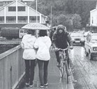 Langebrua connects the south side and the north side of the busy county centre of Førde. It is often quite crowded when pedestrians, cyclists,and cars want to use the bridge at the same time. In pouring rain the cars sometimes splash the pedestrians and cyclists with water.