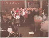From the 25th anniversary celebration of the church on Sunday 1 December, 2002. Sunday-school children from Flokenes and Kvammen sang in praise of the kyrkja.