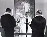 The bishop Ragnvald Indrebø consecrates the 'bedehus' chapel for church functions on 30 October, 1960.