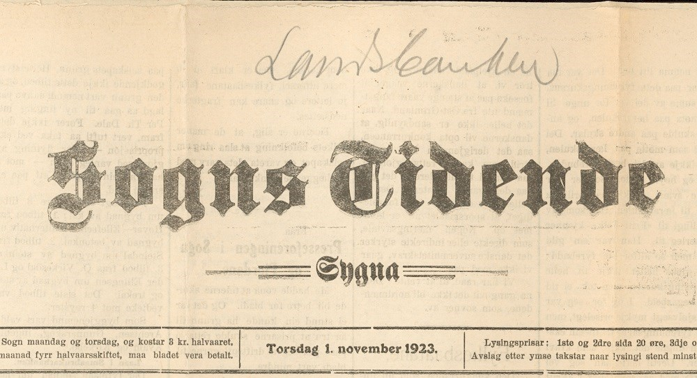 """Sogns Tidende"" 1 November, 1923. The title was later changed to ""Sogns Tidend""."