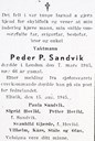 Announcement in Fjordenes Tidende, 20 August, 1945, from his family that Peder P. Sandvik died in London on 7 March, 1945.