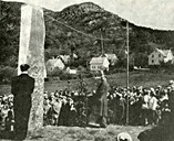 From the unveiling ceremony, Sunday, 10 June, 1951. The editor Lauhn gave the unveiling speech. The stone is still covered and an 'unveiling rope' leads to a pole.