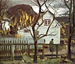 For many years Tunold travelled around in western Norway, from Sunnmøre in the north to Ryfylke in the south. He also stayed at Hjelmeland in Rogaland where he in 1939 painted the picture 'Autmn. Old house at Hjelmeland'.