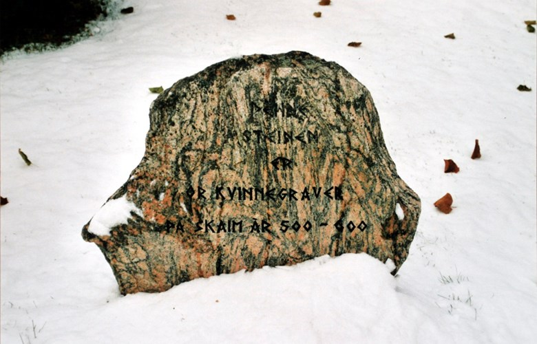 The memorial stone at the Vangen churchyard for the grave find at Skaim.