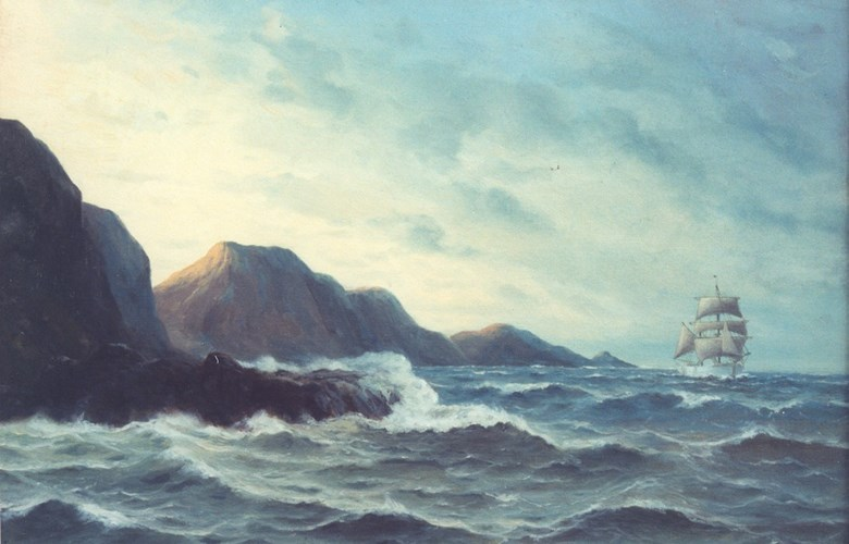 "At the back of this painting from 1922 the artist has written: ""Northern gale at the Vanylvsgabet (the north side of Stadlandet). Price kroner 150.00""."