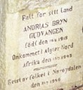 The inscription on the memorial stone for Andrias Bryn, Gudvangen.