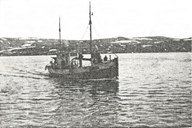 "The MK Igland was the first ""Shetland Bus"" from Bremanger. The boat carried out many crossings of the North Sea. For a while the boat was commanded by Ola Grotle."