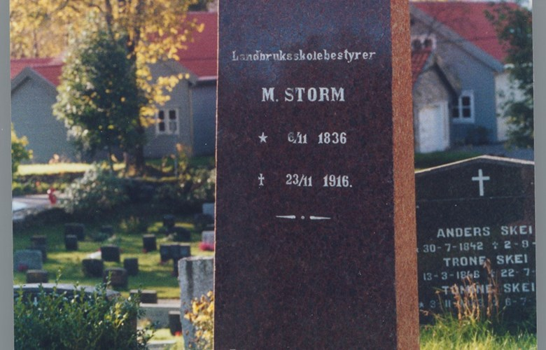 The memorial stone on the grave of Martin Luther Storm in the graveyard of the Førde church. The grave is on the east side of the church.