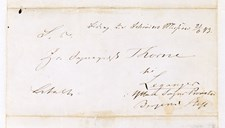 Envelope of letter from W. Wexels in Christiania (Oslo), dated 21 June,1843, addressed to vicar Thorne, Leikanger, where he on behalf of the fund-raising committee expresses thanks for contributions to 'Shreuder's (sic) Mission' in the  parishes of Leikanger, Tjugum, Fjærland, Feios, Fresvik and Vangsnes. Schreuder was staying in Christiania at that time. On the envelope is written: 'Contributions to Schrøder's (sic) Mission 21 June, 43'.  Wexels also adds that 'It pleases the dear Schreuder immensely to accept these testimonies of participation in his work..'