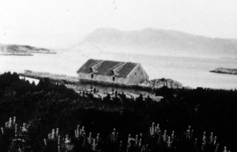 The old Lemkuhl house at Batalden as it probably looked like. The picture has been manipulated on the basis of a photo showing parts of the house in the background. The Lemkuhl house was wrecked in a southerly hurricane in 1931.
