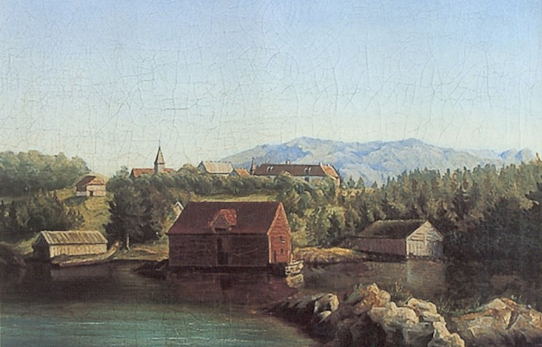 On this painting from the 1850s, we see the church of Svanøy up on the hill, close to Svanøy manor. It was a cruciform church, built about 1650. The church was located in the middle of the field where the churchyard is still located.