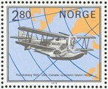 On 5 October 1979, the Norwegian Postal Service issued a set of four stamps commemorating Arctic polar aviation. One stamp shows Loening Air Yacht amphibian (called Leiv Eiriksson), the aircraft Thor Solberg used on his flight from the USA via Canada, Greenland, and Iceland to Norway 18 July to 16 August 1935.