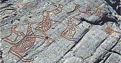 There are other motifs than of deer in the rock carving site of Vingen, but most figures have deer motifs.